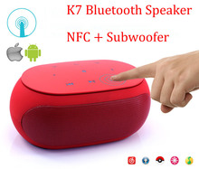 K7 Mini Bluetooth Speaker with NFC Fm Radio Double Subwoofer loud wireless Speakers For PC & Tablet & Mobile Phone(China)