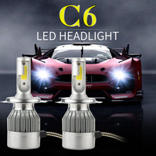 2pcs car headlight H7 Led H4 72W 7600lm 6000k xenon white H1 H3 H11 H8 H9 9005 HB3 9006 Auto Front fog Bulb automobile headlamp