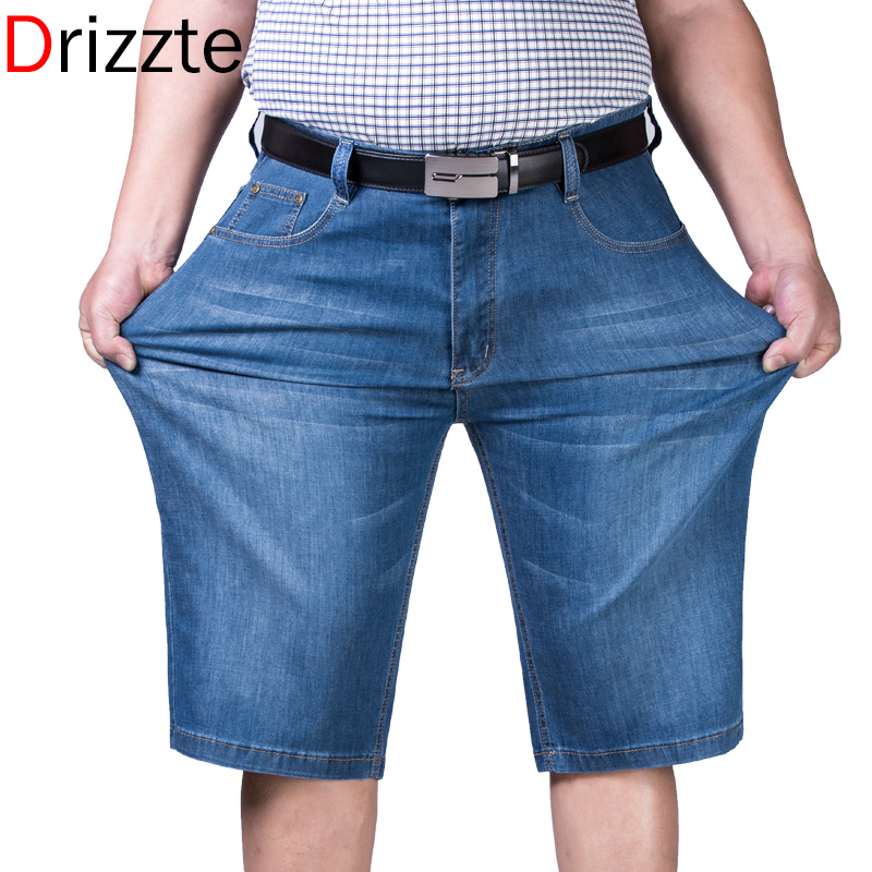 Drizzte Mens Plus Size 44 46 48 50 52 Jeans Shorts Stretch Light Blue Thin Denim Short Jean  Big and Tall Trousers PantsОдежда и ак�е��уары<br><br><br>Aliexpress