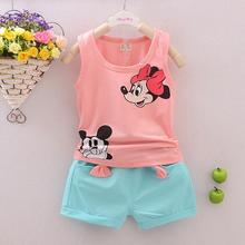 2017 baby girls clothes summer cotton Mickey pattern sleeveless girls clothes shorts suit girls clothes  age 2-6T kids clothes