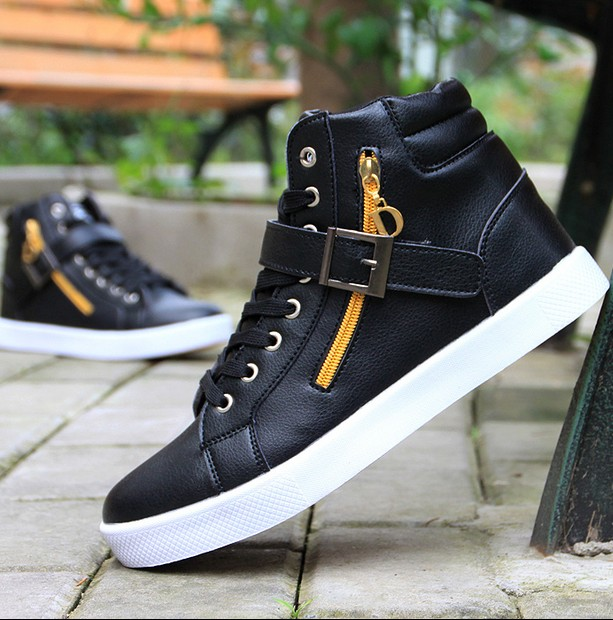 2017 new Autumn winter high top leather men shoes fashion Casual Breathable Flat mens Ankle Boots chaussure femme 8655<br><br>Aliexpress