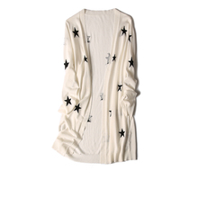 women's spring autumn casual mid long cardigan sweater coat stars printed S36/M38 white 2color