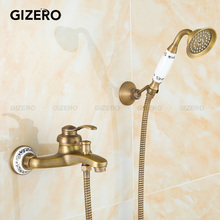 GIZERO Free shipping Vintage Bathroom Brass Shower Set Single Handle Shower faucet with ceramic handshower and base  GI206