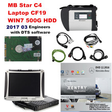 High quality MB STAR C4 OBD2 Scanner C4+Laptop CF19+500G Engineer with DTS software HDD for Mercedes cars/trucks Diagnostic tool
