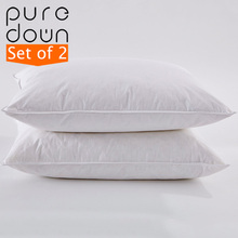Puredown 15% White Goose Down Pillow Hotel High Quality 100% Cotton Cover Medium Soft Firmness Standard Size 48*74cm Set of 2(China)