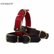 SYDZSW Pet Dog Collar Simple Style Leather Collar Leads for Small and Large Dogs Strong and Durable Pet Products Dog Accessories(China)