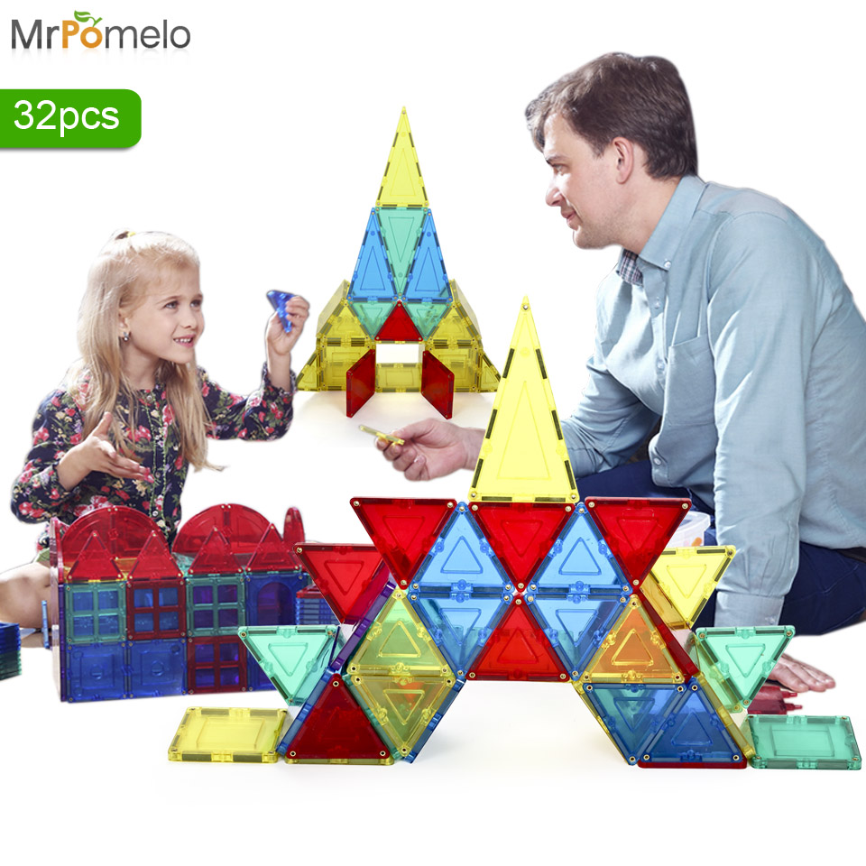 MrPomelo 32pcs Clear Color Magnet Building Tiles Toys for Kids Magnetic 3D Blocks Construction Playboards Child Creativity Toy<br>