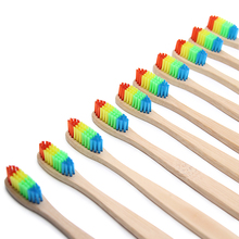 1 PCColorful Head Bamboo Toothbrush Wholesale Environment Wooden Rainbow Bamboo Toothbrush Oral Care Soft Bristle