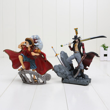 15cm Anime One Piece Dracule Mihawk luffy PVC Action Figure Collection Toy(China)