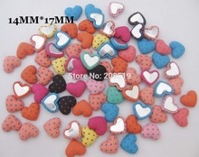CL0008 Heart shape Flatback covered Buttons Polka Dots Cloth 50pcs mix Decorative Scrapbook Child Button 14mm*17mm