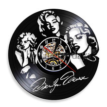 1Piece Marilyn Monroe Wall Clock Marilyn Monroe Night Light Home Decor LED Lighting Vinyl Record Decorative LP Clock Wall Art(China)