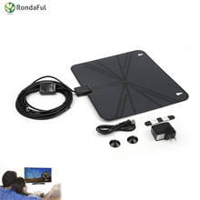 Digital Indoor Amplified TV Antenna View TV Flat HD with Amplifier 50 Miles Range digital tv signal amplifier antenna antennas(China)