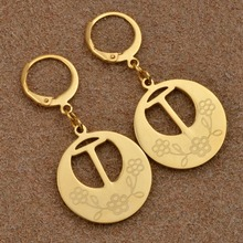 Anniyo (T-Z) Initial Letter Round Earrings English Alphabet Gold Color Jewelry(BUY OTHER LETTERS OPEN ANOTHER LINK) #022921-6(China)
