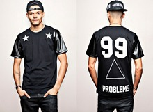 mens t shirts fashion 2014 problems 99 five-pointed star leather digital neck short sleeve mens leather t shirt