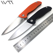 WTT D2 Folding Pocket Knife G10 Handle Utility Combat Hunting Survival Knives Ball Bearing Tactical Outdoor Rescue EDC Tools