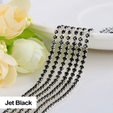 Rhinestones chain Jet Black 3Yards/lot SS6/SS8/SS10/SS12 Silver claw  fou Garment free shipping