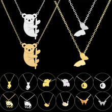 GORGEOUS TALE Jewelry Collier Stainless Steel Chain Butterfly Elephant Panda Birds Pendants Bijoux Femme Choker Necklaces Women