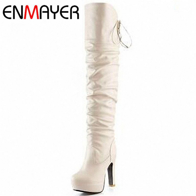 ENMAYER New Fashion Women boots High Heel Platform Long Shoes Knight boots Sexy Lace up Over The Knee High Winter Boots 3 Colors<br>