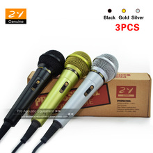 ZY Audio 3PCS Black Gold Silver Dynamic Cardioid Handheld Microphone Microfone Fio Microfono For KTV Karaoke With 3 M Cable(China)