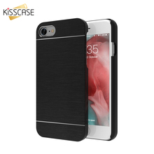 KISSCASE Aluminum Metal Brush Case for iPhone 7 7 plus Case for iPhone 5s 5 SE 4 4s Business Hybrid Protective Back Cover Capa