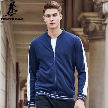 Pioneer Camp nouveau Printemps hoodies hommes marque vêtements bleu hommes zipper hoodies top qualité de mode pulls molletonnés occasionnels mâle 622192