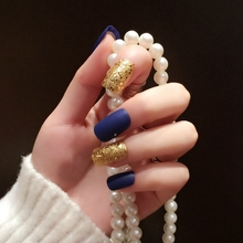 Glitter Gold Sequins Fake Ink-blue Pre-designed Nails Full Wrap Nail Tips Press On Nail 24Pcs Z352
