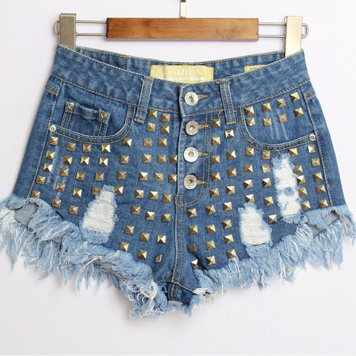 vintage retro women high waist short jeans denim summer Personalized rivet tassel shorts femenino jeansОдежда и ак�е��уары<br><br><br>Aliexpress