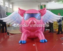 New design 3m giant inflatable flying pink pig with wings for advertising