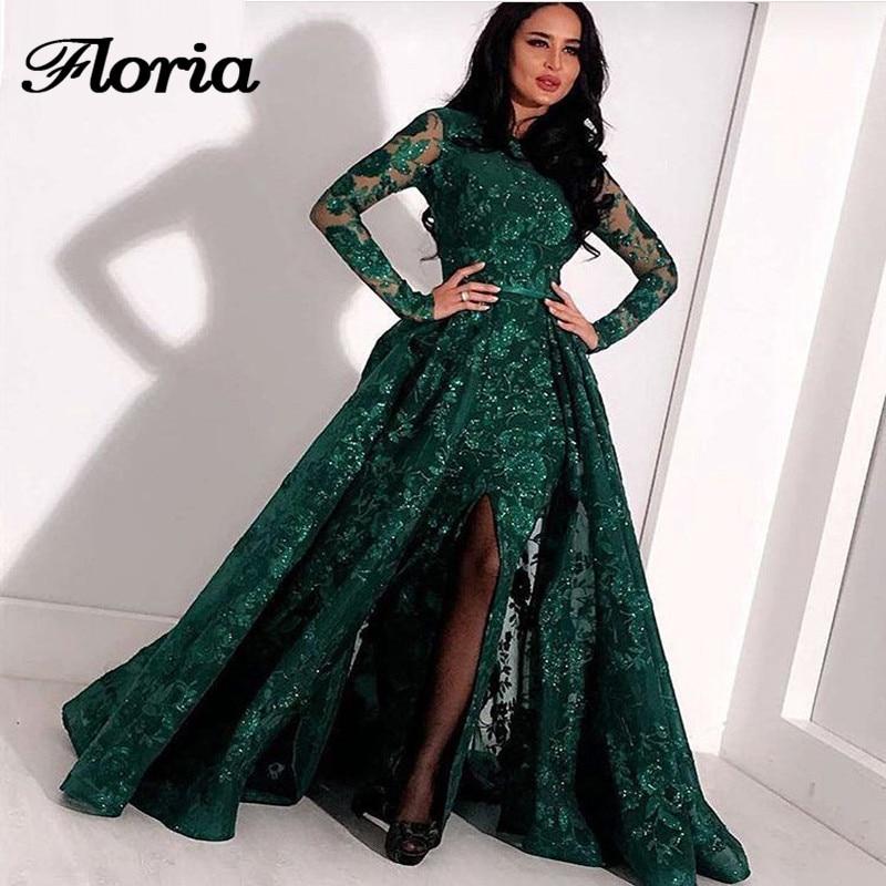 Long-Sleeves-Green-Lace-Mermaid-High-Neck-Arabic-Evening-Dress-2018-kaftan-Dubai-Formal-Evening-Gowns
