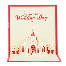 (10 pieces/lot)Romantic Wedding Greeting Cards 3D Design Wedding Church Shape Carved DIY Paper Artware Wedding Chapel Card