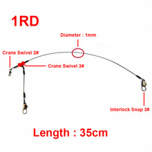 Hyaena 24pcs 35cm Fishing Wire Leaders Stainless Steel Braided Trace Spinning Leader Rigs Arm Steel Wire Line With Snap Swivel