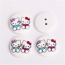Kitty Cat Crafts And Scrapbooking Children Buttons Round Wooden Natural White Cardigan Decorative Sewing Accessories 20mm 50pcs(China)