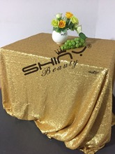 Shiny Beauty 48x72inch Matt Dark Gold Sequin Tablecloth Elegant Sequin Table Linens for Wedding/Christmas Table Decoration-a(China)