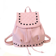 Summer new simple fashion retro bag scrub rivets small backpack female PU leather students pack wave z798