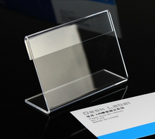 7*5cm L-shaped Transparent Acrylic Sign Holder Desk Label Name Card Holder Table Price Tag Stand Holder(China)