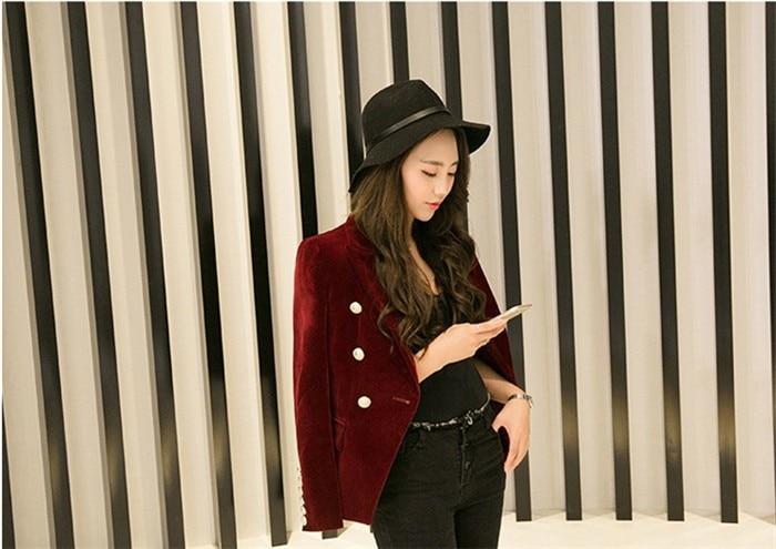 2016 New Spring Fashion Women Midnight Navy Slim Velvet Blazer Jacket Double Breasted simple Lady Blazers (9)