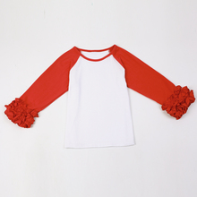 Kids Christmas Costume Ruffled Infant tops Blank DIY Baby girls T-shirt School Style Girls Clothes kids long sleeve t shirts(China)