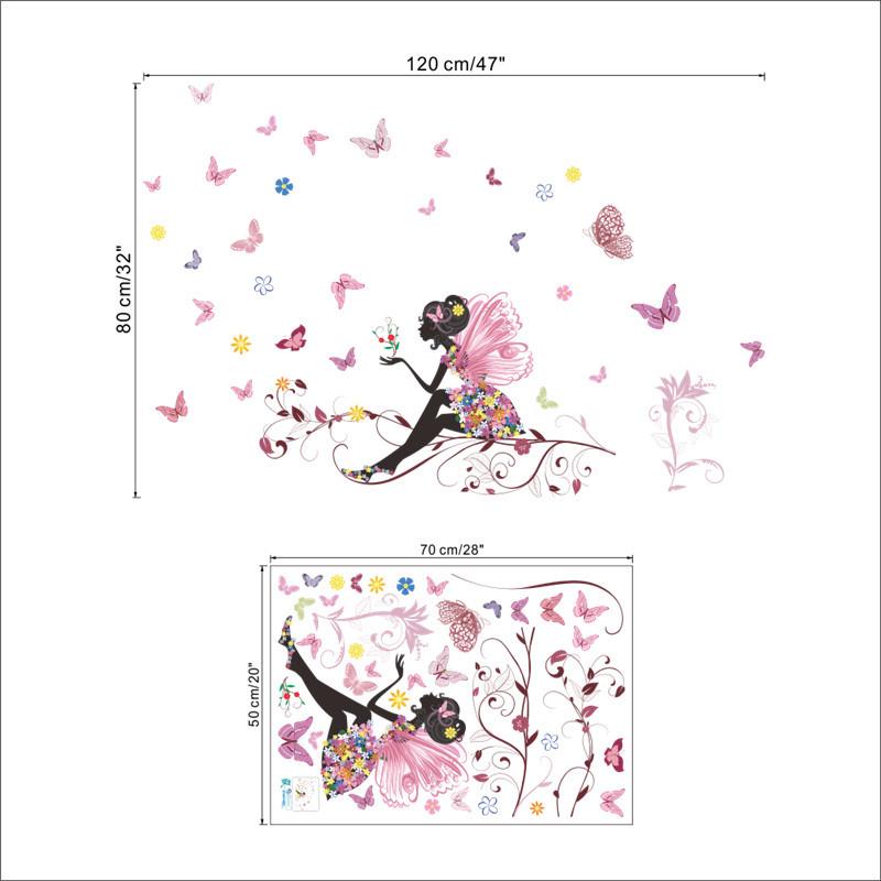 HTB1Ub9eSFXXXXaSXpXXq6xXFXXXJ - Flower Fairy pink colorful tree branch butterfly wall sticker - Free Shipping