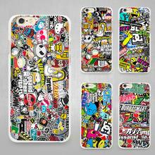 Sticker bomb Hard White Cell Phone Case Cover for Apple iPhone 4 4s 5 SE 5s 6 6s 7 Plus