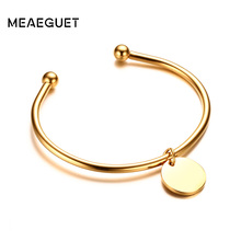 Meaeguet Laser Engrave Charm ID Bangle Personalized Name Bracelet For Women Customized Stainless Steel Bangle Jewelry For Gift