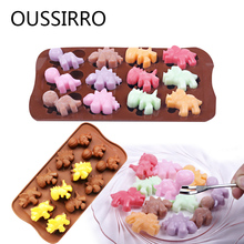 Chocolate Mold Silicone 3D Dinosaur Shape Cake Mould 12 Holes Soap Cake Decorating Tools DIY Kitchen Baking Accessories 21*10cm