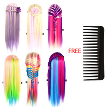 "26"" 100% High Temperature Fiber Long Hair Hairdressing Training Head Model + Comb Practice Mannequin 6 Colors For Salon(China)"