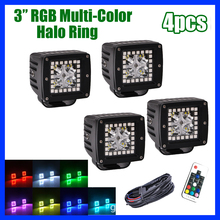 "4X 3"" inch LED Work Light Bar Spot/Flood Beam Cube 3x3"" Pods with RGB Halo Ring Strobe flash Color Changing Offroad ATV SUV BOAT(China)"