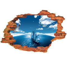 3D Explosion Models Blue Ocean Sailing Bedroom Living Room Wall Stickers Decorative Stickers Wholesale Manufacturers TTL004(China)