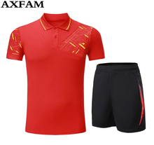 AXFAM Free shipping 2017 new clothes man badminton tennis shirt (shirt + shorts) are table Tennis shirt shorts kit