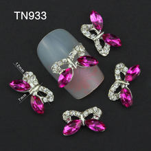 Blueness 3D Charms Adhesive Rose Clear Decorating Stones for DIY Stones 10PCS/LOT Silver Alloy Jewelry Stud for Nails Arts TN933(China)