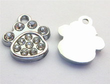 20-50pcs paw print Hang Charms, Hang Pendants Fit Pet Collar Necklace Bracelet Cell Phone Charms(China)