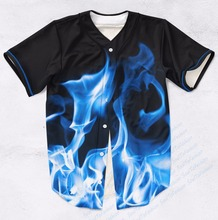 Real AMERICAN USA Size Custom Made It's Lit (Blue Fire Flames) Fashion 3D Sublimation Print  Baseball Jersey Plus Size