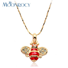 MOONROCY Free Shipping Fashion Crystal Necklace Gold Color Austrian Crystal Cute Bee Necklace jewelry for Women Gift(China)