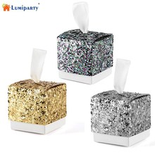 50Pcs Wedding Favor Boxes Set Creative Sparkling Glitter Paper Candy Sugar Gift Boxes for Bridal Shower Baby Birthday Party-30(China)